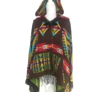 Jackets & Blazers - Brand New Blanket Cape with Hood Boho Southwestern